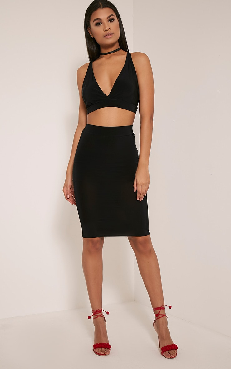 Shanice Black Cross Back Slinky Crop Top 5