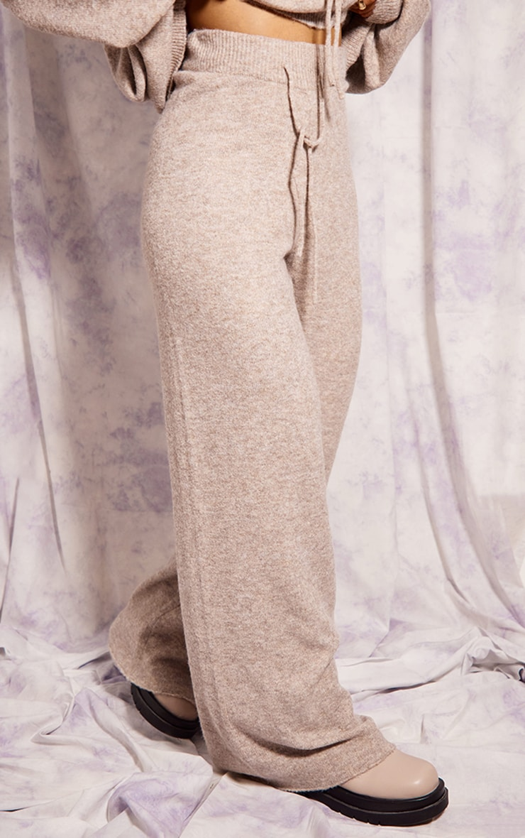 Recycled Oatmeal Knitted Wide Leg Pants 2