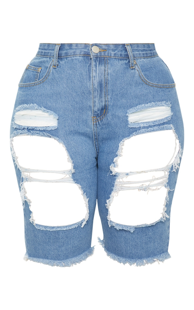 Plus Mid Wash Extreme Distressed Long Denim Shorts 3