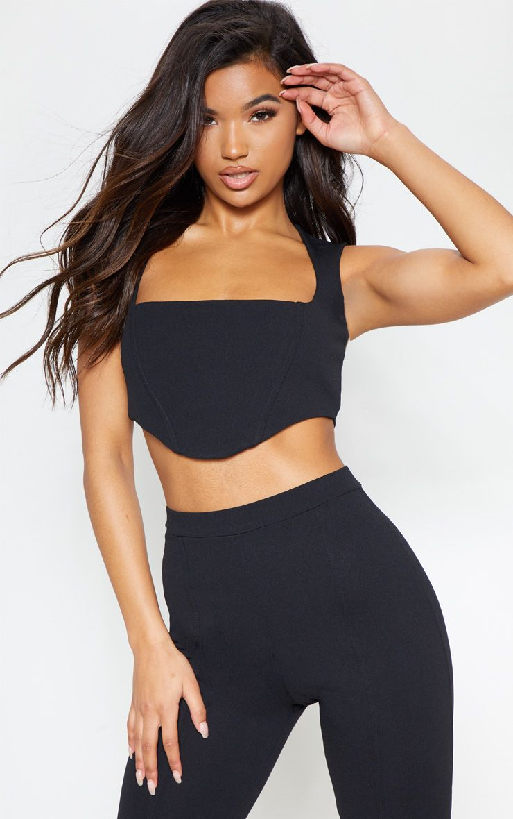 Black Zip Back Square Neck Crop Top 1
