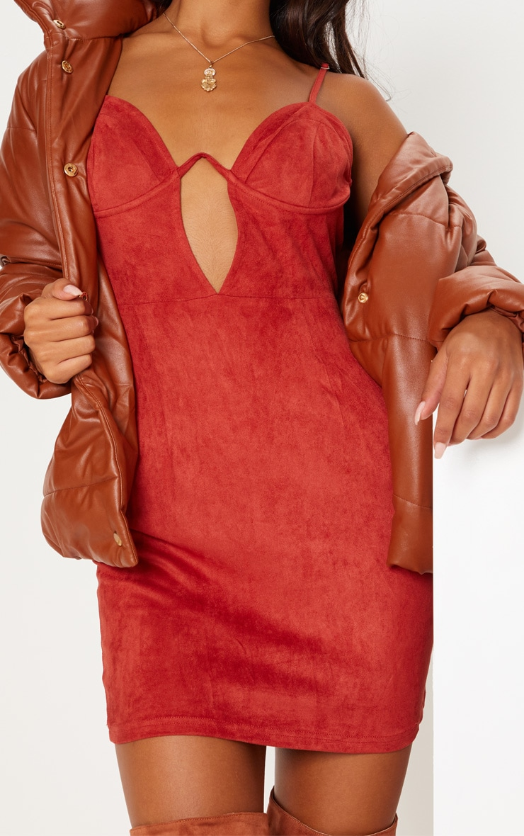 Rust Faux Suede Strappy V Bar Bodycon Dress 6