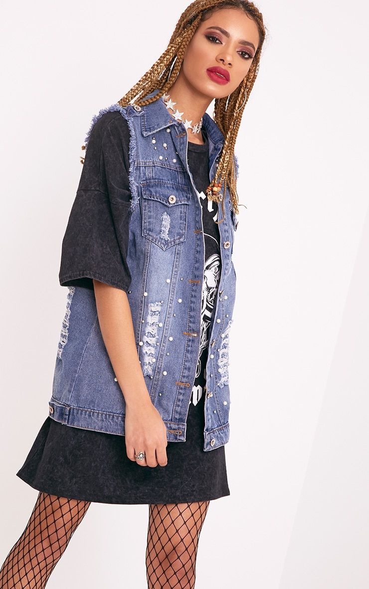 Mirriann Pearl Stud Mix Mid Wash Denim Sleeveless Jacket 1