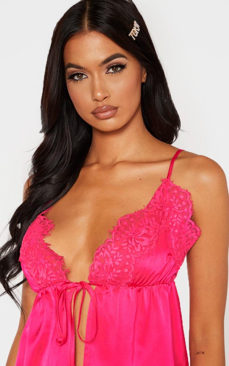 Hot Pink Satin Spilt Front Detail Cami 5
