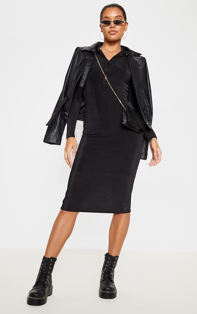 Black Slinky Button Front Midi Polo Shirt Dress