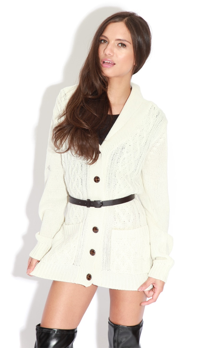 Sara Cream Grandad Style Fisherman Knit Cardigan With Belt 1