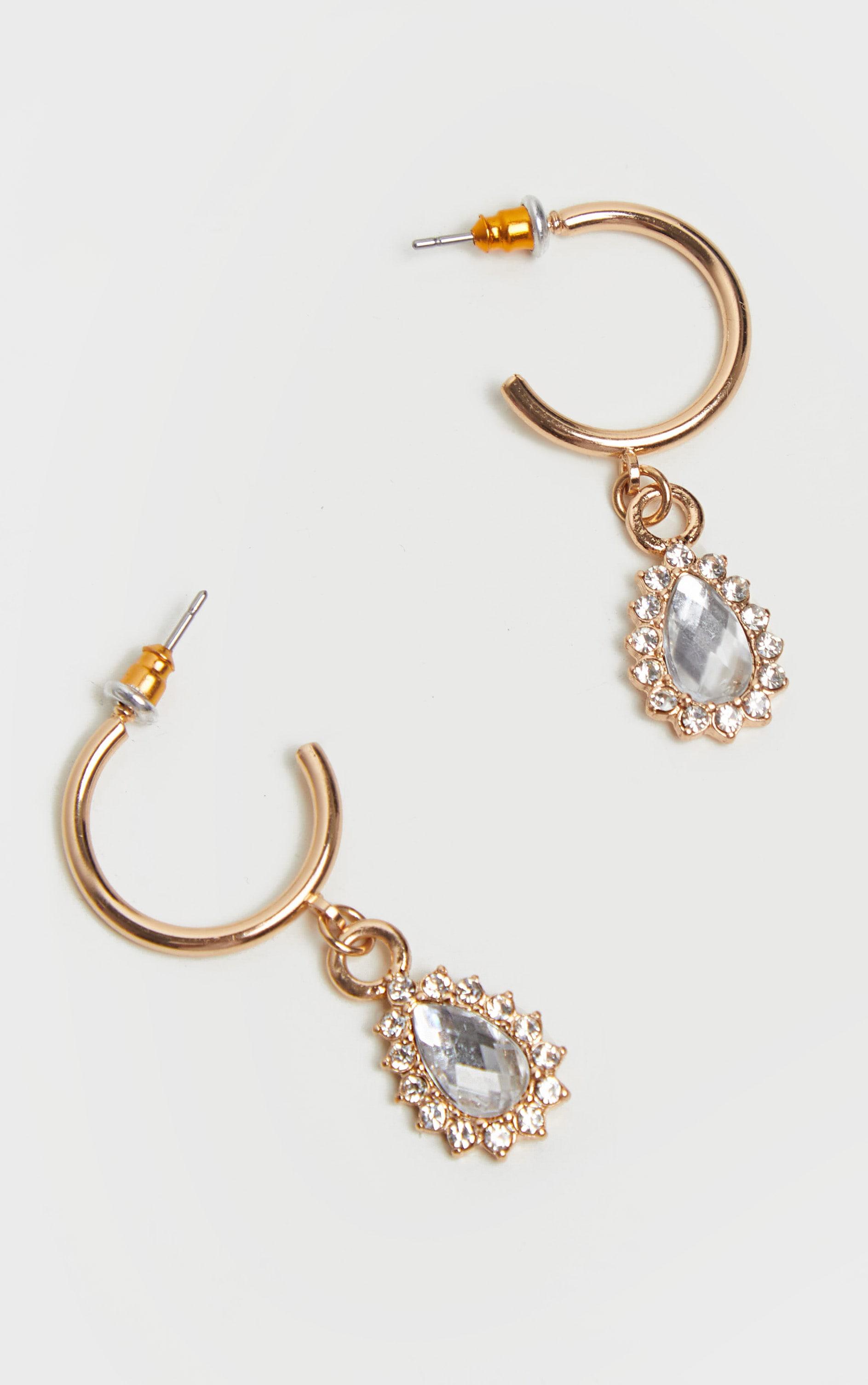 Gold Mini Hoop And Diamante Charm Earrings 2