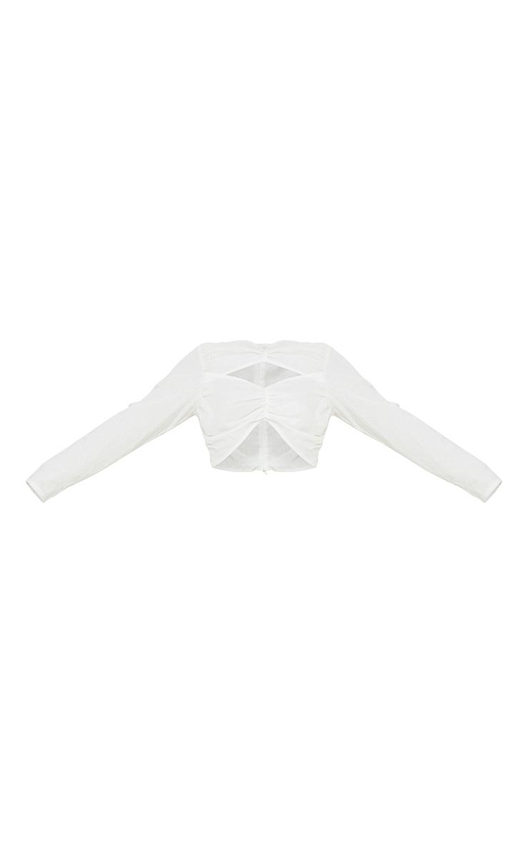Petite White Cut Out Detail Long Sleeve Blouse 5