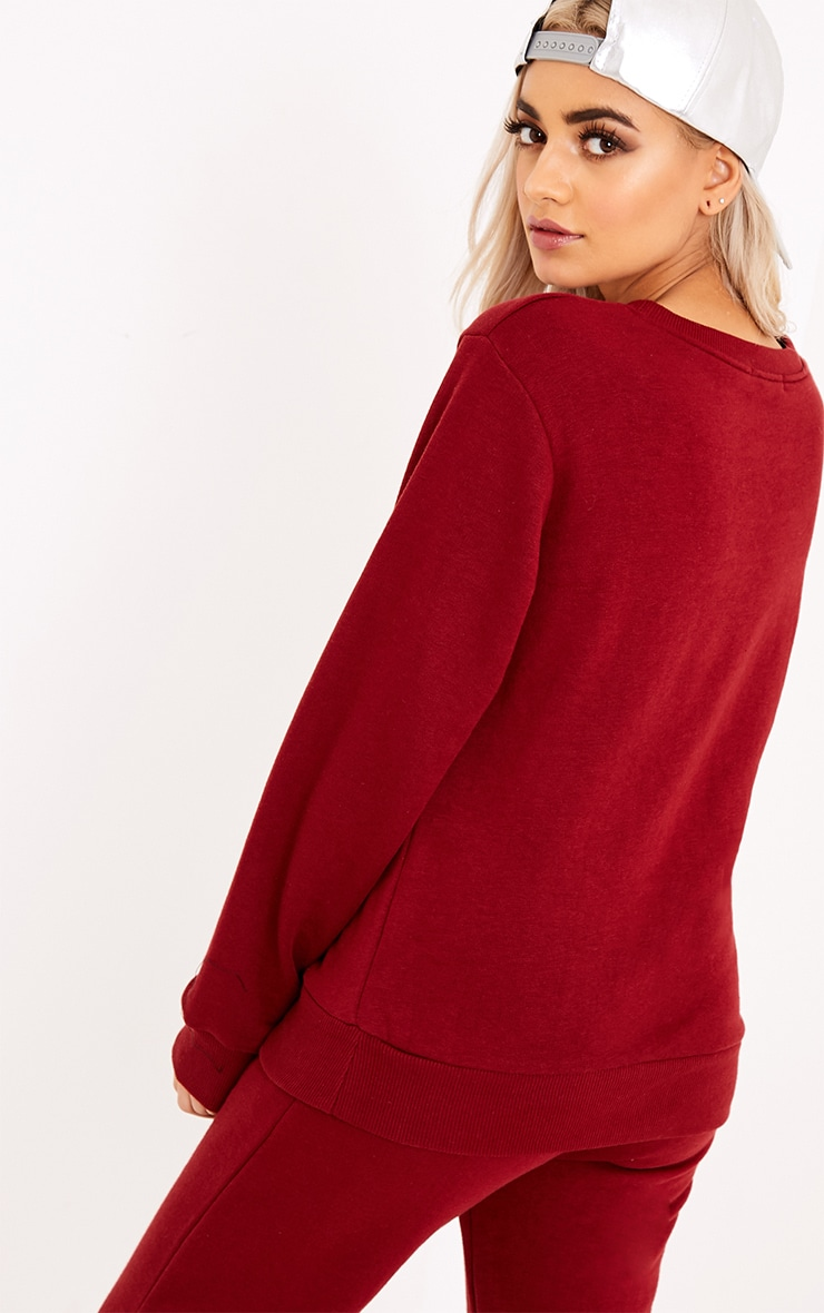 Superior Slogan Burgundy Sweatshirt  2