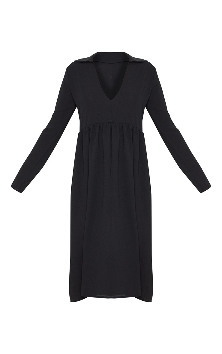 Black Crepe V Neck Frill Smock Dress 3