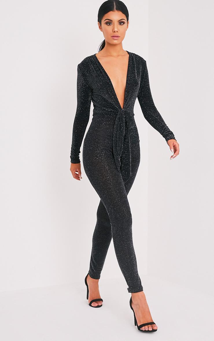 9348656e4d3 Alessia Black Lurex Knot Front Plunge Jumpsuit image 1