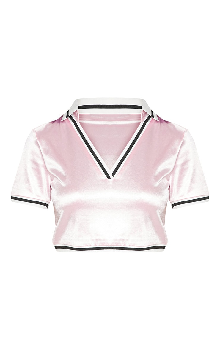 Pastel Pink Satin Stripe Trim Crop Top 4