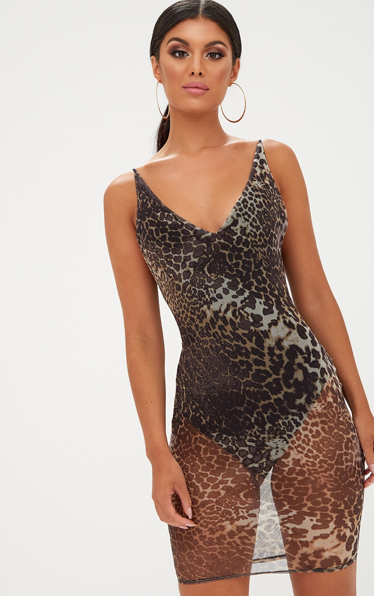 Leopard Print Mesh Bodycon Dress 1