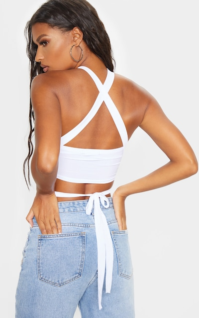 White Slinky Tie Detail Bandeau Top