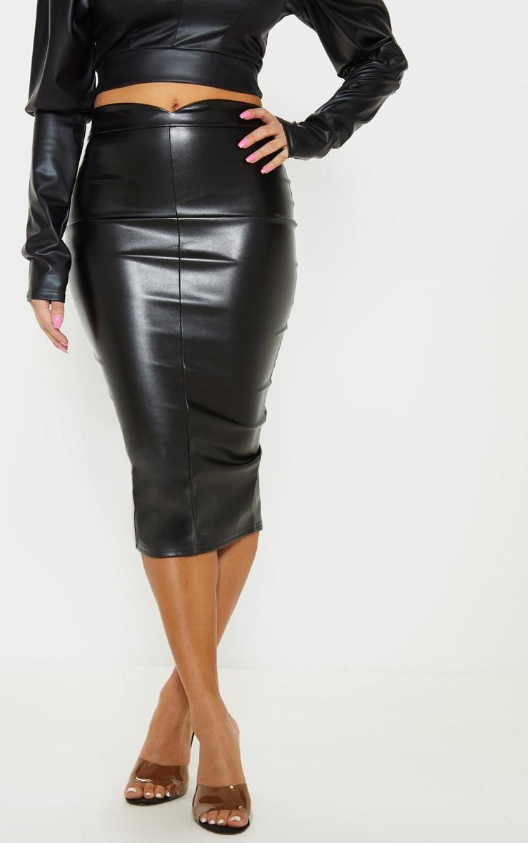 Petite Black Faux Leather Panel Midi Skirt 2