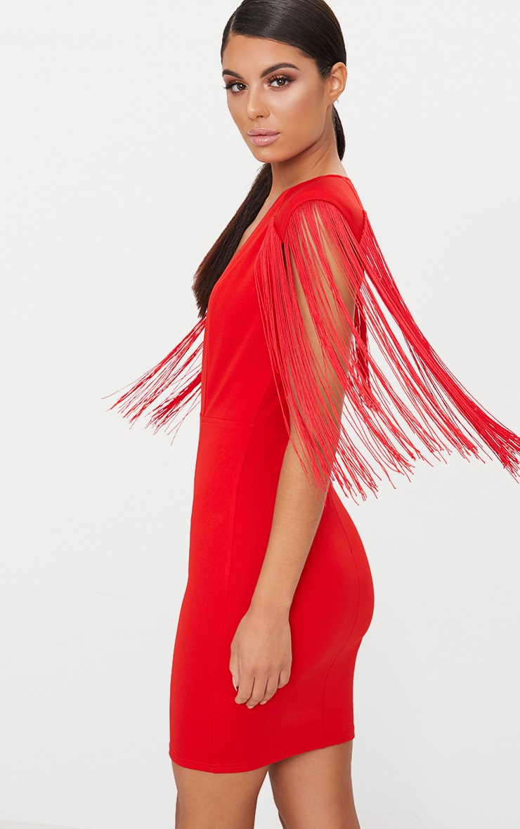 Red Tassel Shoulder Extreme Plunge Bodycon Dress  3