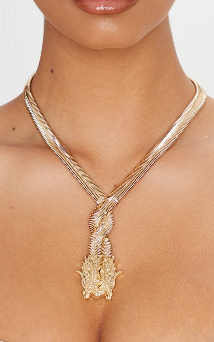 Gold Snake Chain Dragon Head Necklace 2