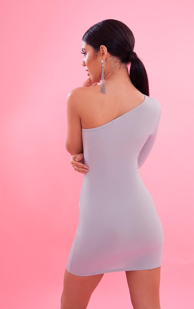 Dove Grey Crepe One Sleeve Bodycon Dress 3