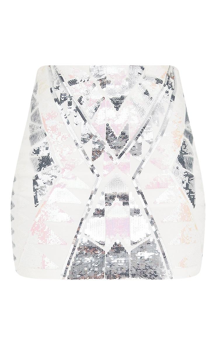 White Sequin Embellishment Mini Skirt 3