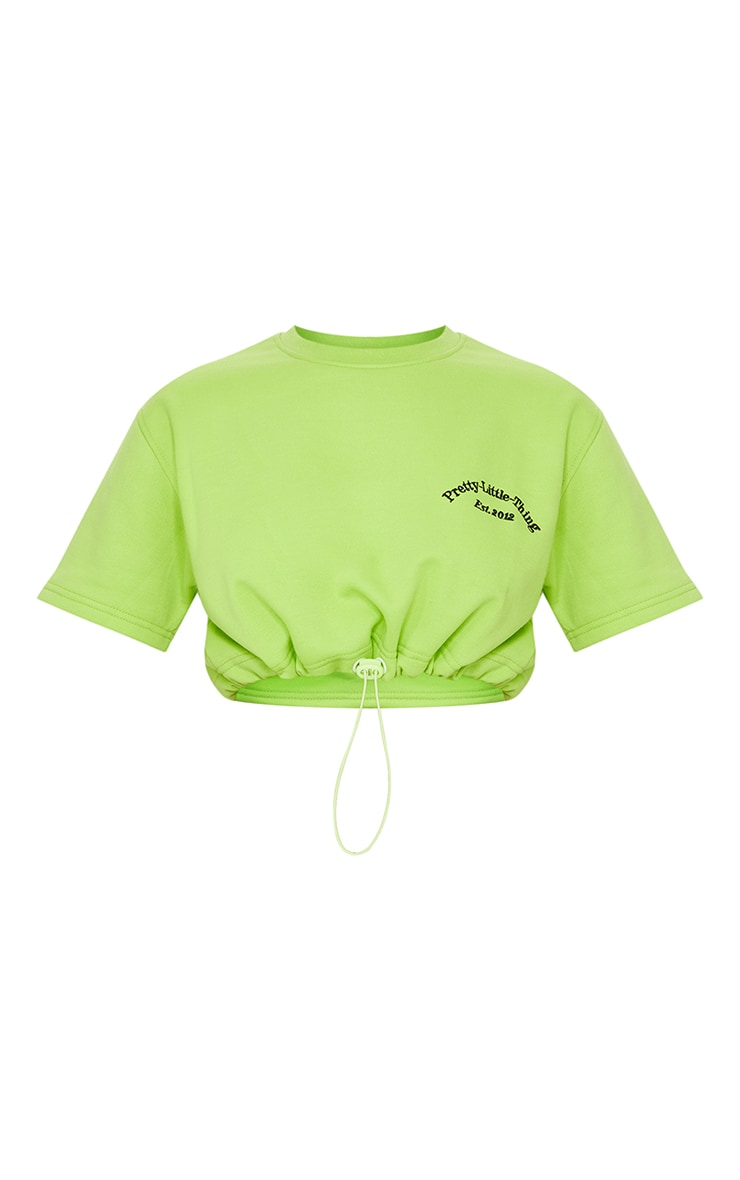 PRETTYLITTLETHING Green Embroidered Short Sleeve Toggle Sweatshirt 5