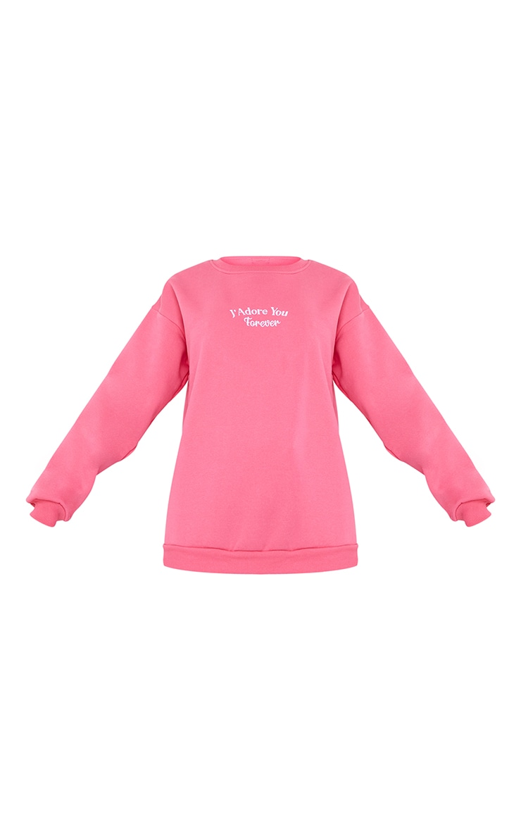 Hot Pink J'Adore You Slogan Embroidered Sweatshirt 5