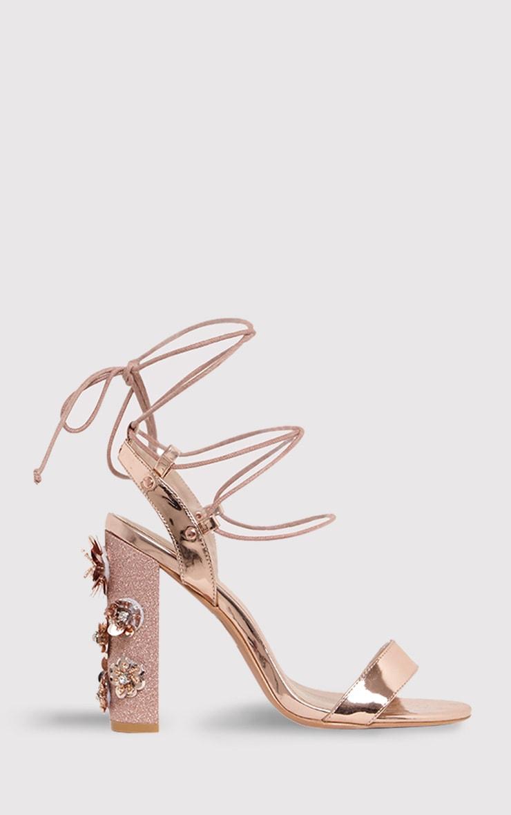 Evy sandales à talons carrés à ornements or rose 3