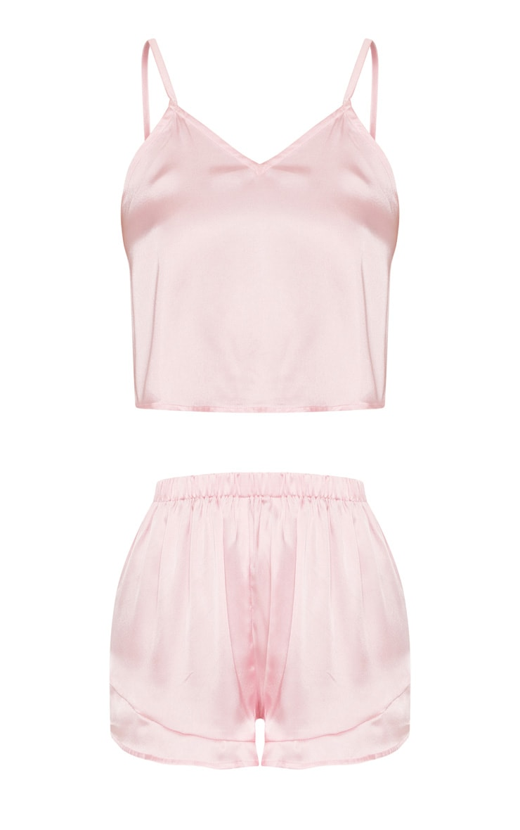 Pink Satin Frill Cami Short PJ Set 3