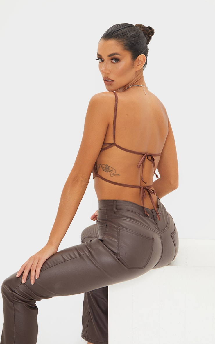 Chocolate Satin Backless Strappy Crop Top 2