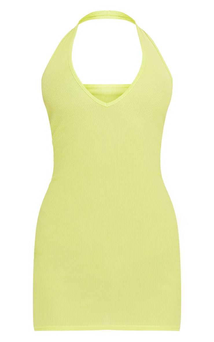 Lime Ribbed Halterneck Low Back Bodycon Dress 5