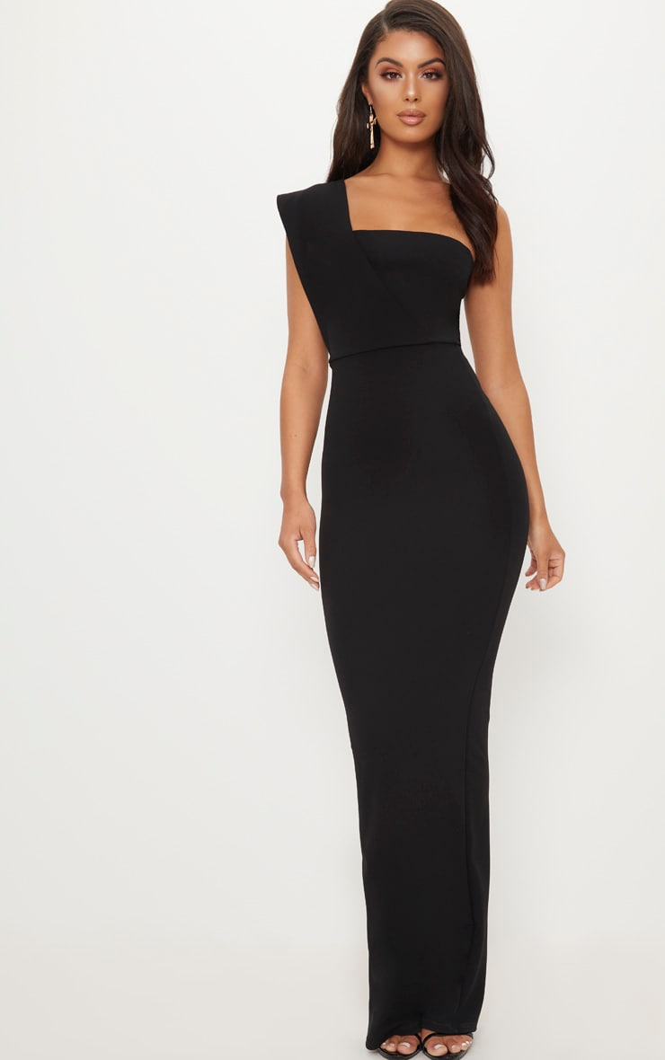 Black One Shoulder Maxi Dress 1