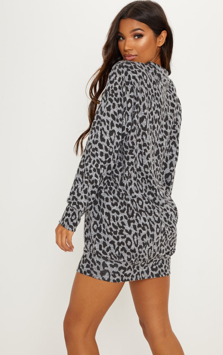 Grey Knitted Leopard Print Jumper Dress 2
