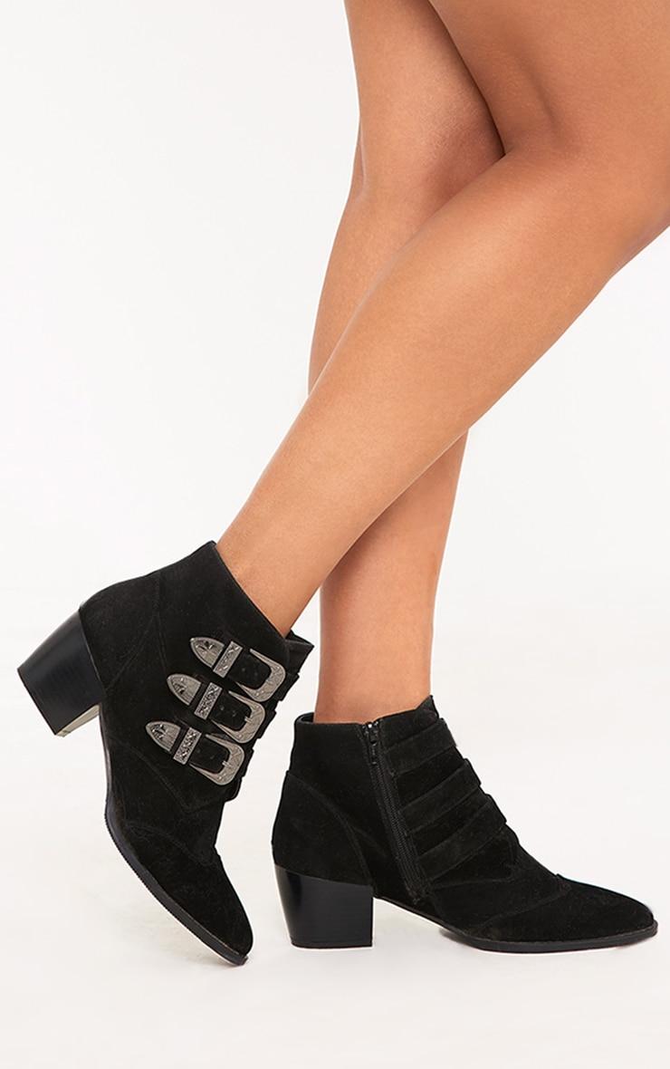 Keshia Black Western Buckle Ankle Boots