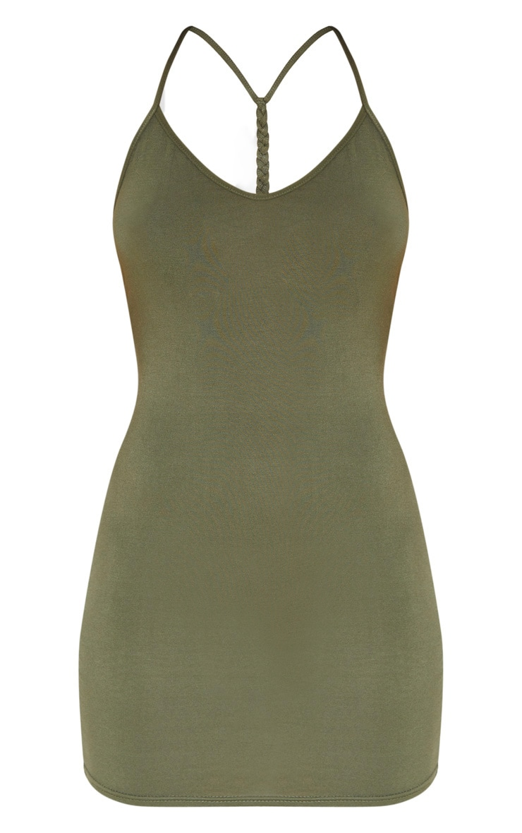 Khaki Plaited Back Bodycon Dress 3