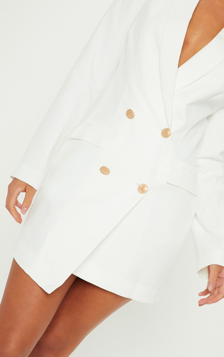 White Gold Button Blazer Dress 4