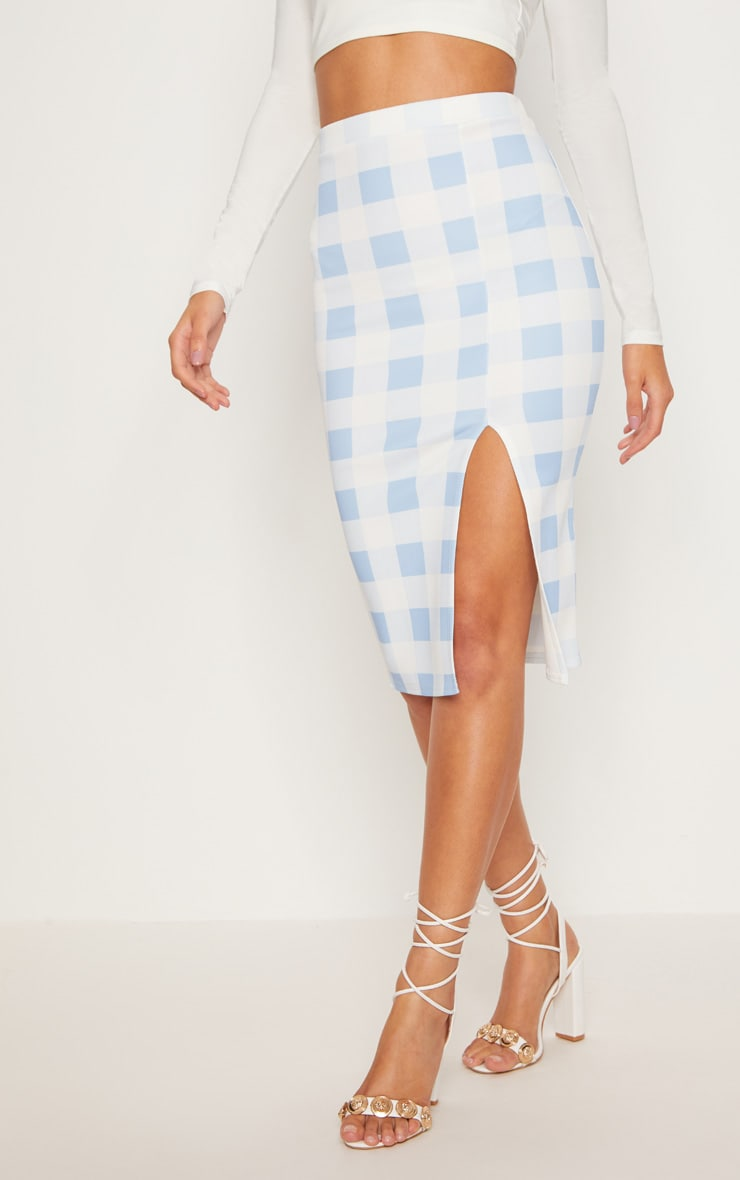 Dusty Blue Scuba Check Side Split Midi Skirt 2