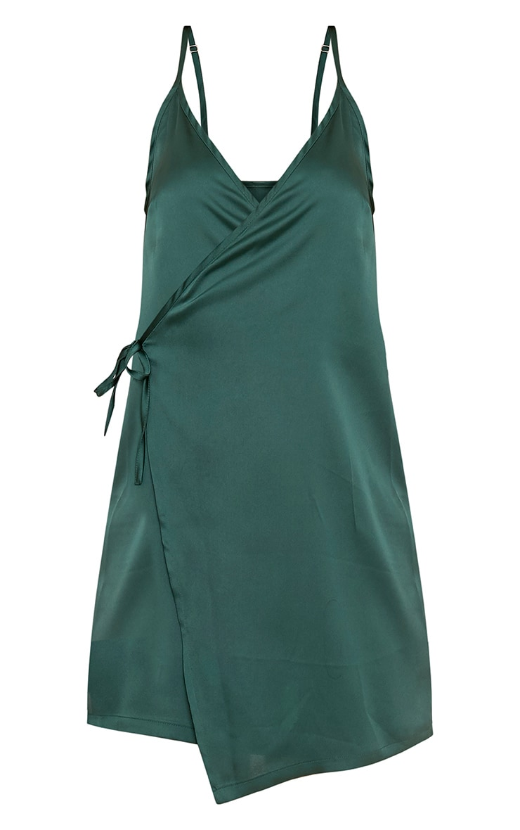 Pippa Green Satin Wrap Shift Dress 3