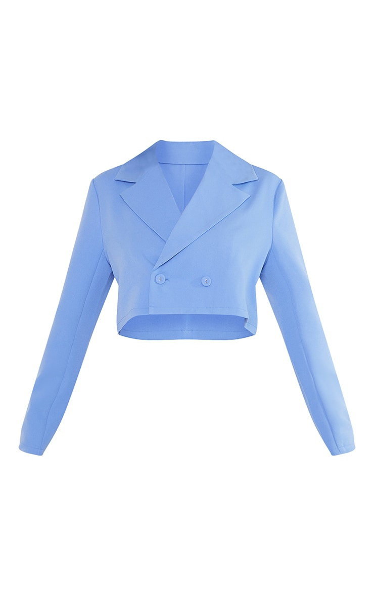 Petite Steel Blue Cropped Double Breasted Blazer 5