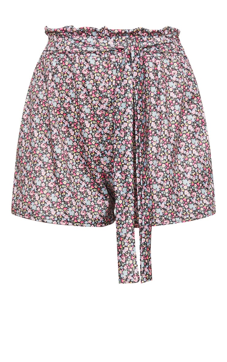Black Ditsy Ruched Floral Tie Waist Shorts 6