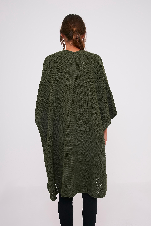 Yazmine Khaki Chunky Knit 3/4 sleeve Wrap Cardigan 2