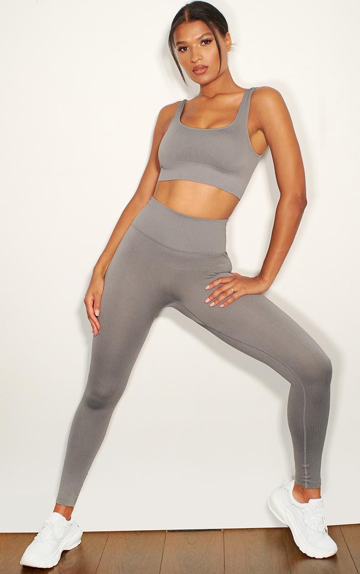 Grey Ribbed Seamless Sports Legging 1