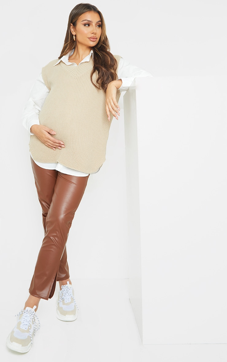 Maternity Stone V Neck Knitted Side Split Vest 3