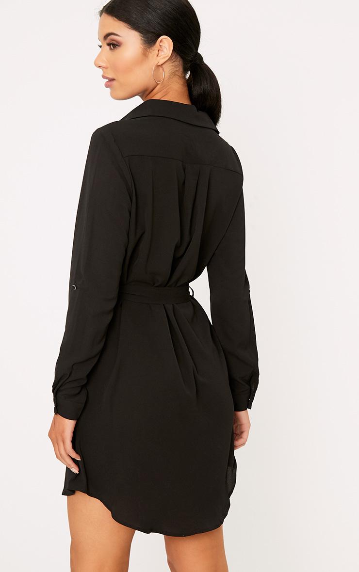 Erinie Black Embroidered Shirt Dress 2