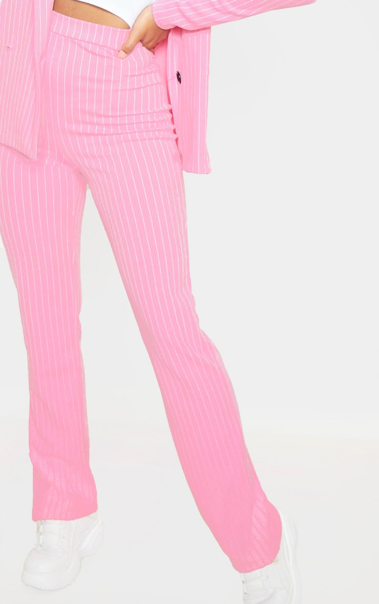 Pink Pin Striped Straight Leg Trouser  5