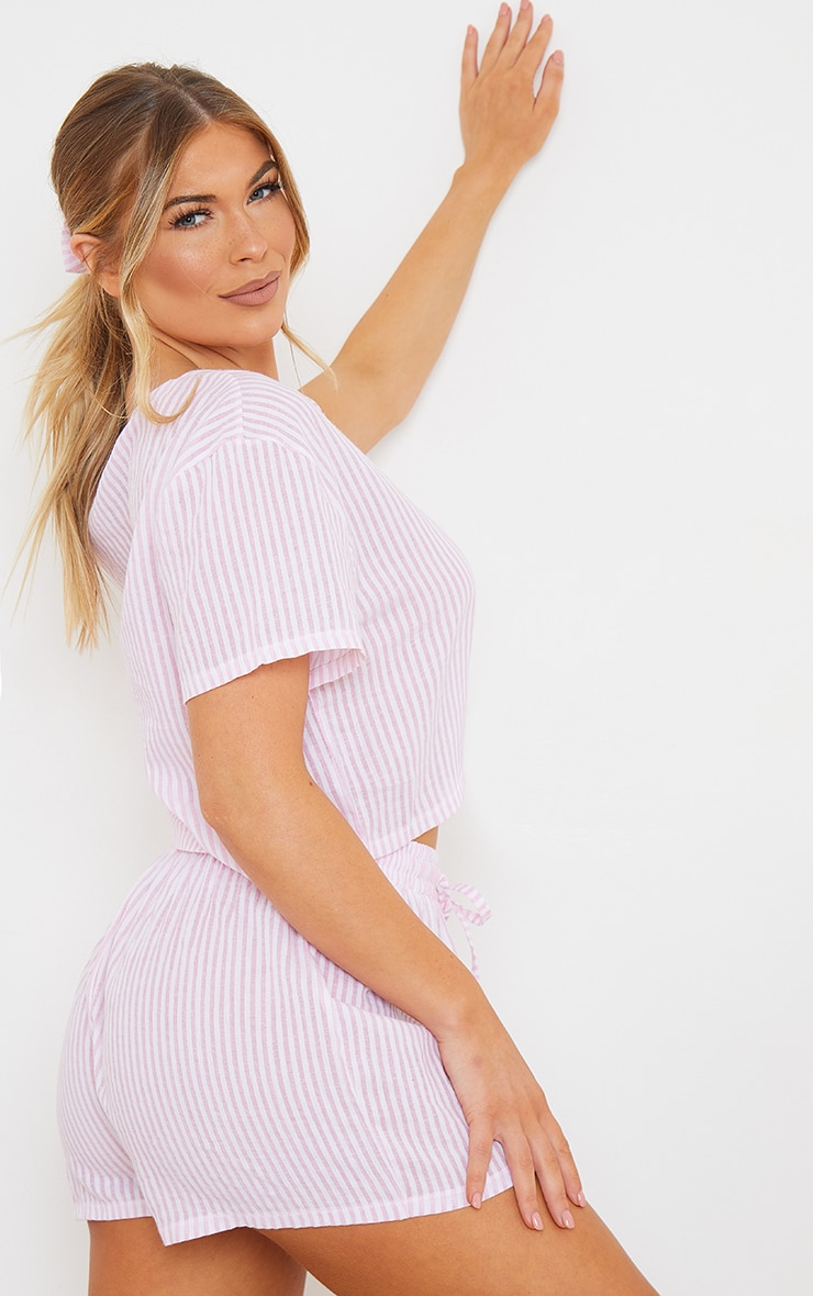 Pink Striped Cotton Cropped Short Sleeve Top And Shorts PJ Set With Scrunchie 2