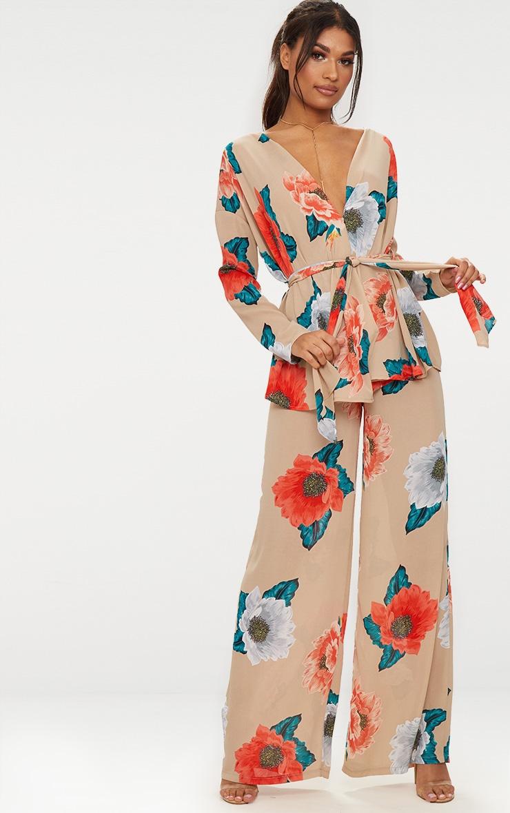Nude Large Floral Tie Waist Blouse 4