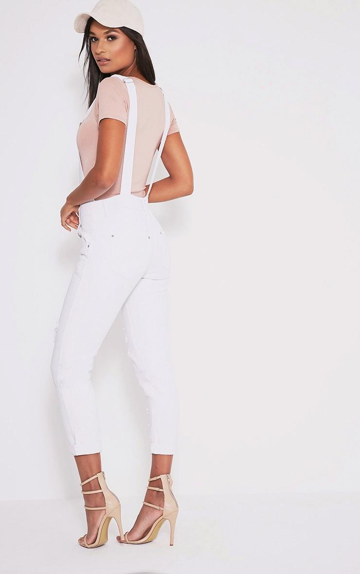 Ann salopette en jean blanche 4