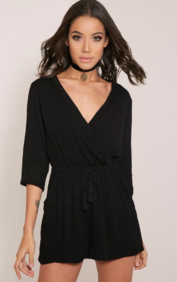 Treena Black Wrap Front Playsuit 1