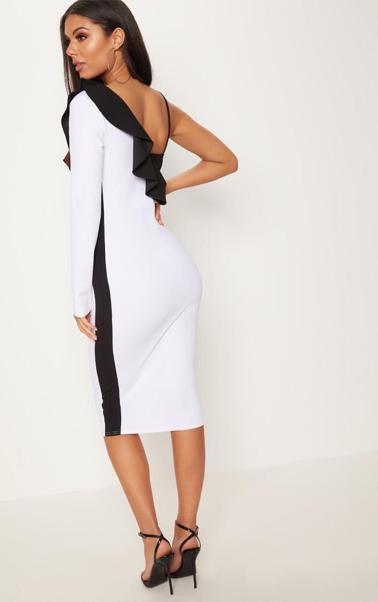 White One Shoulder Frill Detail Colour Block Midi Dress 2