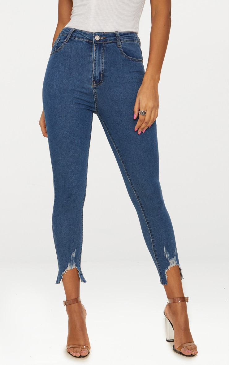 Mid Wash V Cut Hem Detail 5 Pocket Skinny Jean 2