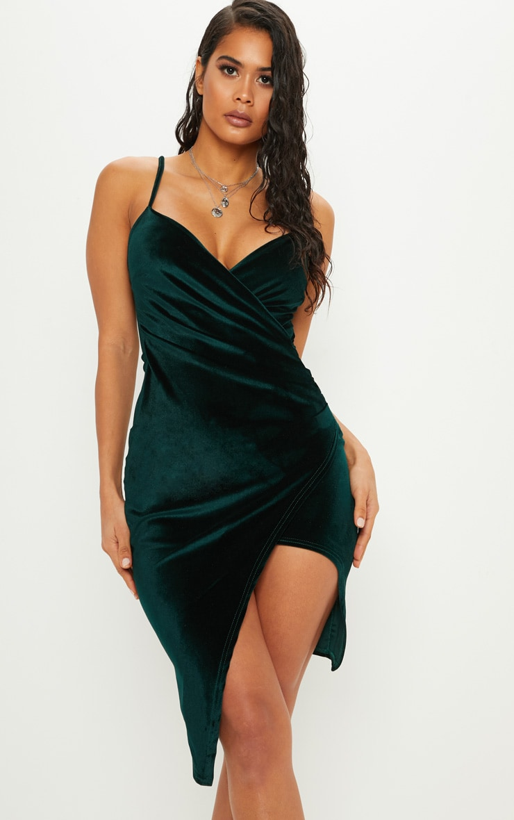 Emerald Green Lauriell Velvet Wrap Front Midi Dress