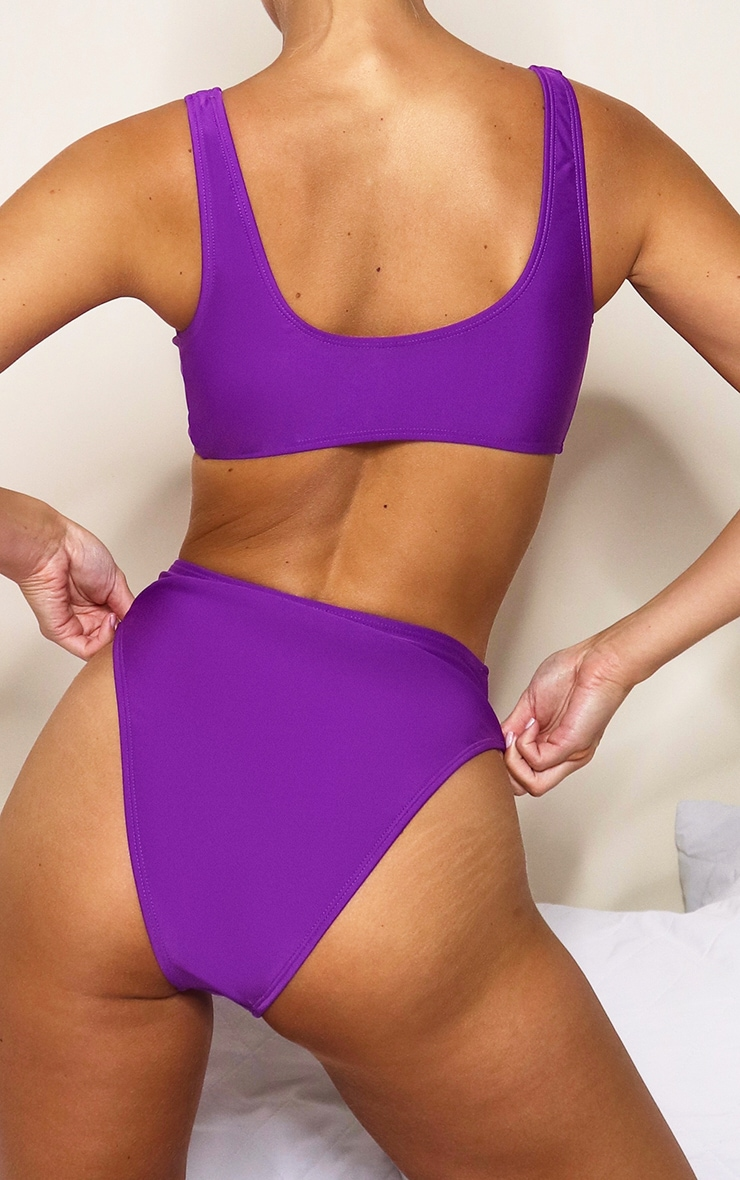 Purple Mix & Match High Waisted High Leg Bikini Bottoms 4